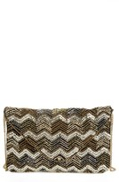 Sole Society Mona Beaded Flap Clutch - Metallic