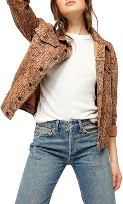 Free People Snake Print Trucker Jacket