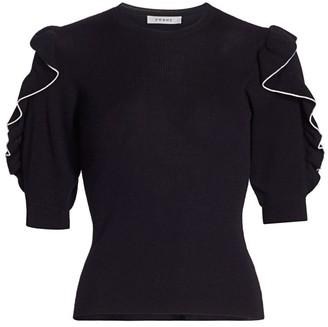 Frame Ruffle-Sleeve Merino Wool Sweater