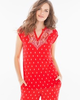Soma Intimates Pop Over Cap Sleeve Pajama Top Cape Paisley Placement Poppy