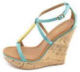 Charlotte Russe Metallic T-Strap Wedge Sandal