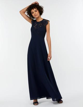 Monsoon Morgane Lace Maxi Bridesmaid Dress Blue