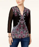INC International Concepts Printed Illusion-Sleeve Top, Created for Macy's