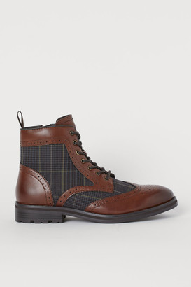 H&M Brogue-patterned Boots - Beige