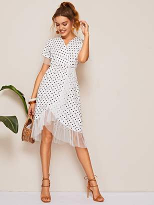 Shein Surplice Polka Dot Mesh Panel Dress