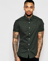 Asos Skinny Shirt In Khaki Polka Dot With Short Sleeves