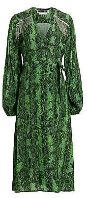 Rotate by Birger Christensen Women's Kira Python Print Puff-Sleeve Midi Wrap Dress