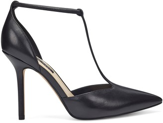 Nine West T-Strap Leather Pointed Toe Pumps - Breezy