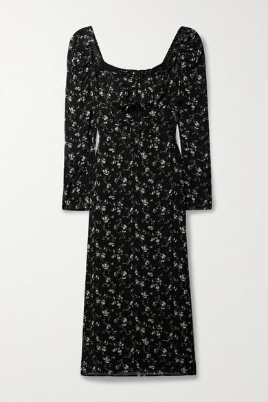 Reformation Wrenn Cutout Ruched Floral-print Georgette Midi Dress - Black