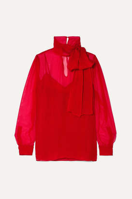 Valentino Pussy-bow Georgette Blouse - Red