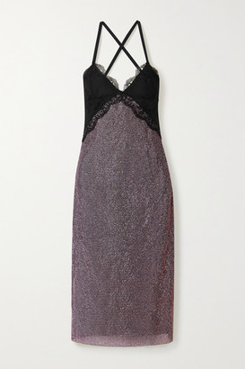 Christopher Kane Lace-trimmed Crystal-embellished Chainmail Midi Dress - Black