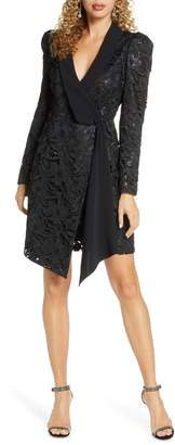 Harlyn Sequin Lace Long Sleeve Tuxedo Cocktail Dress