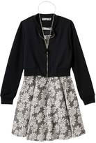 Knitworks Girls 7-16 Textured Bomber Jacket & Burnout Flower Dress with Necklace Set