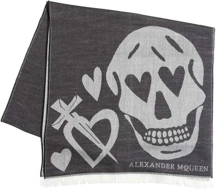 Alexander McQueen Heart & Skull Wool Blend Jacquard Scarf