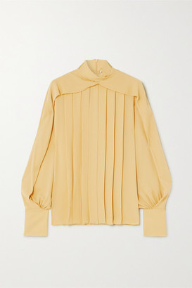 The Row Gilia Pleated Silk Crepe De Chine Blouse - Yellow