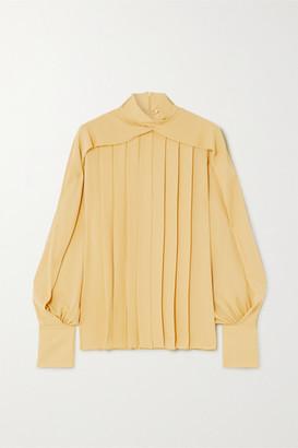 The Row Gilia Pleated Silk Crepe De Chine Blouse - Yellow