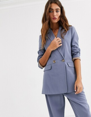 Topshop double breasted blazer in dusty blue