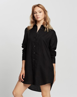 Assembly Label - Women's Black Long Sleeve Dresses - Linen Shirt Dress - Size 6 at The Iconic