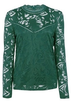 Dorothy Perkins Womens Vila Green High Neck Lace Top, Green