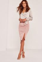 Missguided Slinky Split Front Midi Skirt Pink