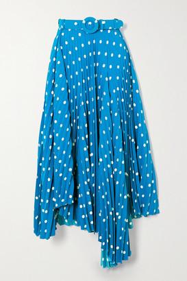 Balenciaga Belted Asymmetric Pleated Polka-dot Crepe Midi Skirt - Blue