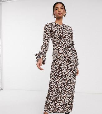 Verona long sleeve maxi wrap dress in leopard print-Stone