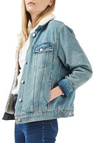 Topshop Women's Moto Borg Denim Jacket