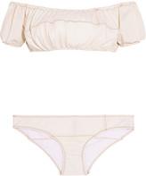 Lisa Marie Fernandez Leandra off-the-shoulder stretch-denim bikini