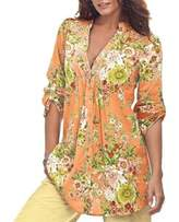 Billila Women Vintage Floral Print V-neck Tunic Women's Fashion Plus Size Tops (S, )