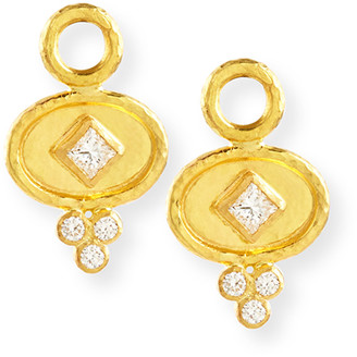 Elizabeth Locke 19k Gold Oval Diamond Earring Pendants