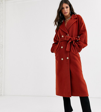 Asos Tall DESIGN Tall oversized belted maxi coat in rust-Red