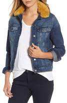 Mavi Jeans Women's Katy Faux Fur Collar Denim Jacket