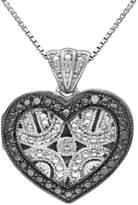 Black Diamond Accent Sterling Silver Heart Pendant Necklace