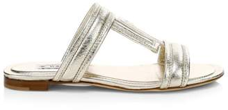 Tod's Metallic Leather Mule Sandals