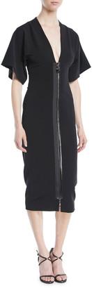 Cushnie Deep-V Two-Way Zip Kimono-Sleeve Midi Dress