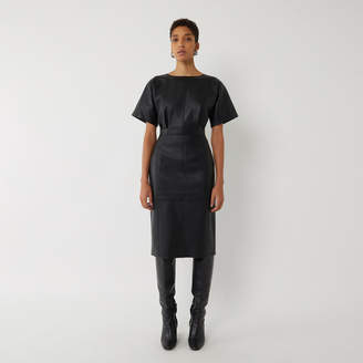 Warehouse SEAMED FAUX LEATHER MIDI DRESS
