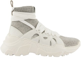 Agnona Wraparound Laces High Top Cashmere Sneakers Grey