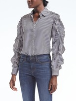 Banana Republic Dillon-Fit Stripe Cascade Ruffle-Sleeve Shirt