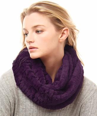 MIRMARU Women's Winter Soft Warm Faux Fur Infinity Loop Circle Scarf Neck Warmer - purple - One Size