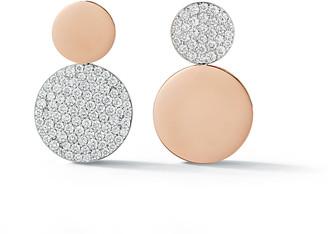 Walters Faith Lytton Mix Matched Diamond Disc Drop Stud Earrings - Rose Gold