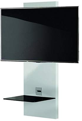 """VCM Scala-1"""" Wall Furniture with LED/LCD Wall Mount and Glass Shelve, White/Black"""