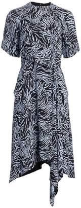 Proenza Schouler Asymmetric Draped Crepe de Chine Midi Dress