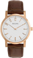 Bulova Mens Classic Brown Leather Strap Watch 97A106