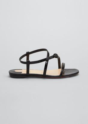 Christian Louboutin Selima Mock-Croc Flat Sandals