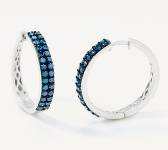Affinity Diamond Jewelry Affinity Sterling Silver Colored Diamond Hoop Earrings, 1.00 cttw