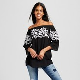 Cliche Women's Embroidered Elbow Sleeve Top Black