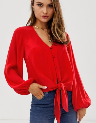 Asos Design DESIGN long sleeve button front top with tie detail-Red