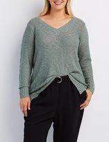 Charlotte Russe Plus Size Slub Knit V-Neck Sweater