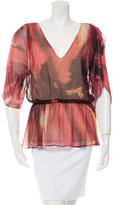 Alice + Olivia Silk Peplum Top
