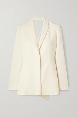 Jonathan Simkhai Wendy Draped Crepe And Hammered-satin Blazer - Ecru